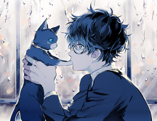 Other} He has a pet cat the color black and white his cat has green bright eyes and follows him everywhere sometimes he thinks his cat has teleporting powers since it comes out of nowhere