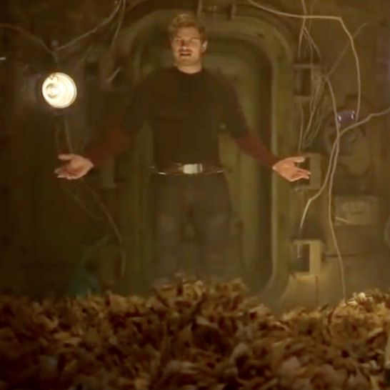 In this scene, Peter Quill aka StarLord walks into 'teenage' Groot's room and complains about the mess