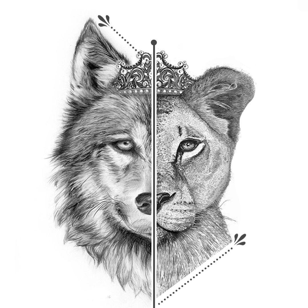 A metade da cabeça de um leão, com a metade da cabeça de um lobo formando assim uma peça única, ambos usando a mesma coroa