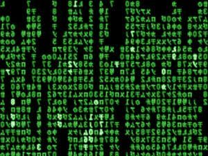 Then, the desktop beeps, forming a green pattern of codes, going from symbols to symbols