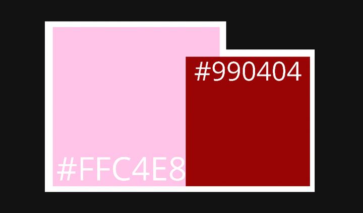 ◖ FANDOM COLORS   ╰─── 𓏳 › #FFC4E8   ╰─── 𓏳 › #990404