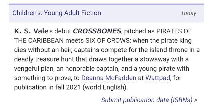 I'm extremely excited to announce that CROSSBONES will be published by WattpadBooks in Fall 2021!