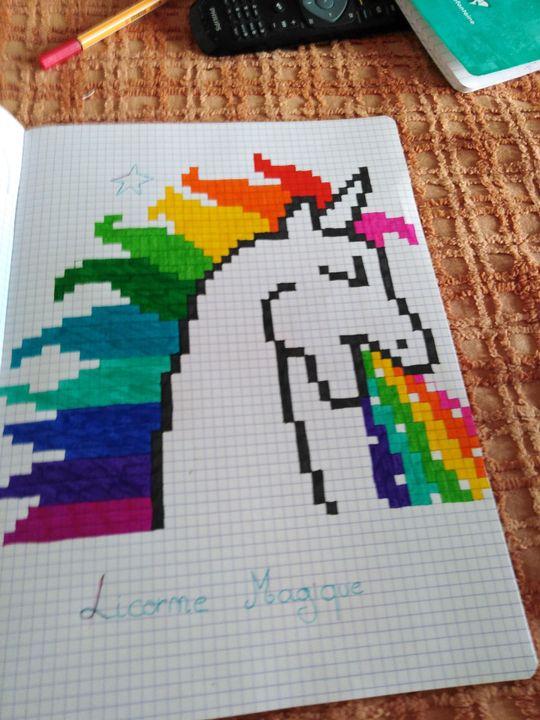 Ma Vie Dessin Dessin 33 Licorne Pixel Art Wattpad