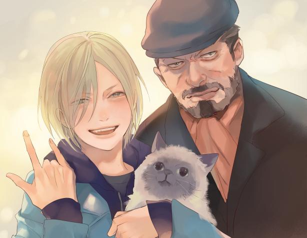y La última foto mostraba de nuevo a Yuri cargando una pequeña bola blanca peluda junto con su abuelo sonriendo alegremente