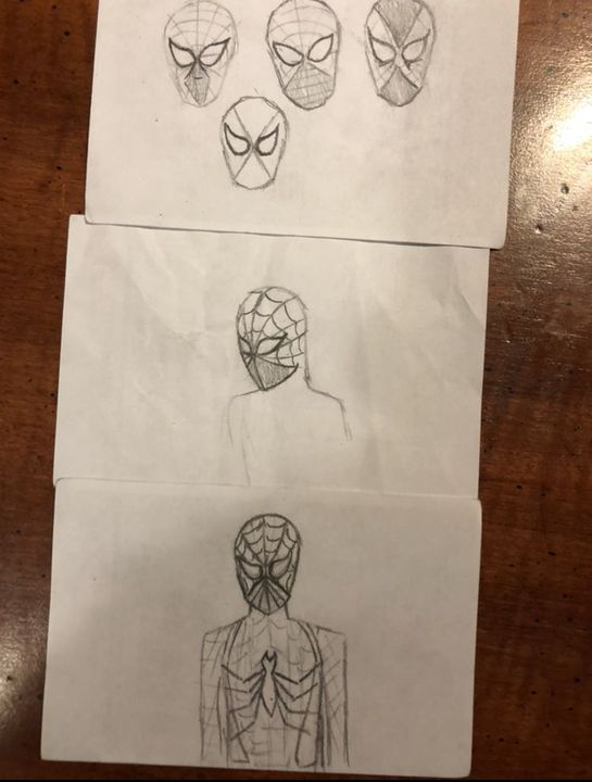 -Here are some practice sketches of me trying to get a general idea of what his suit might look like