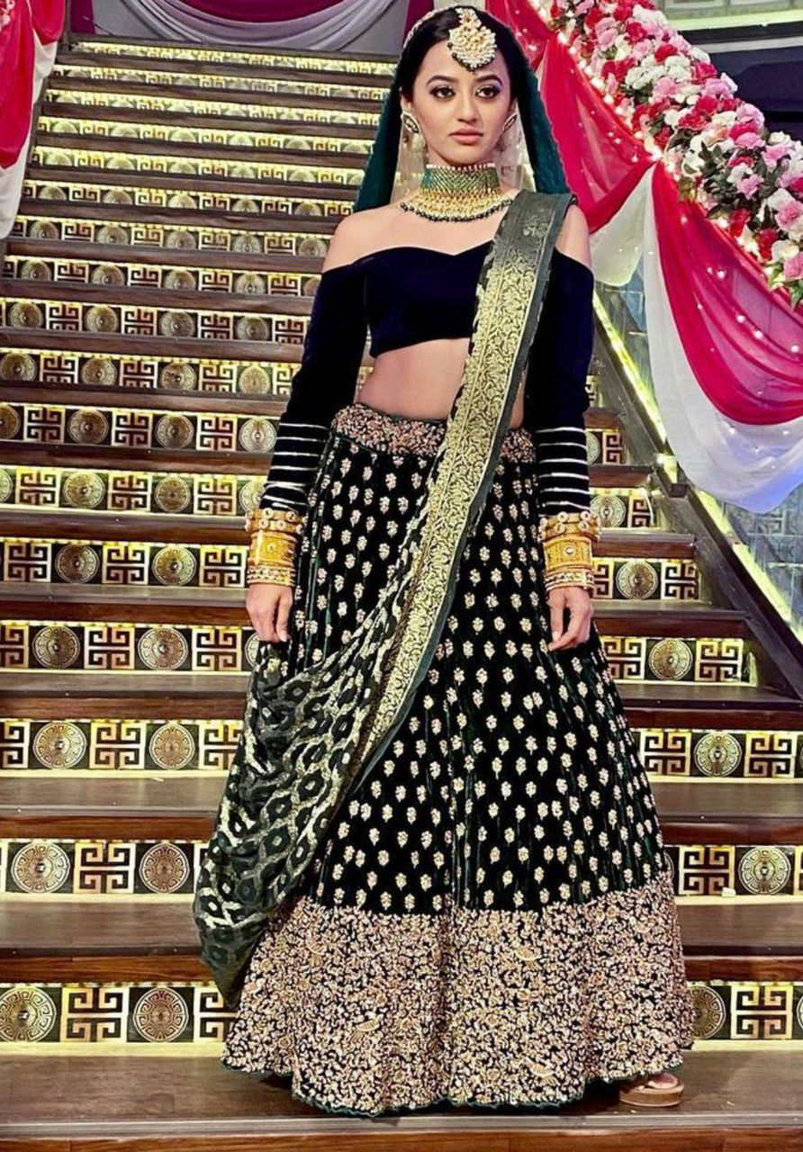 She was wearing a red bridal lehenga and vansh was also wearing a green sherwani
