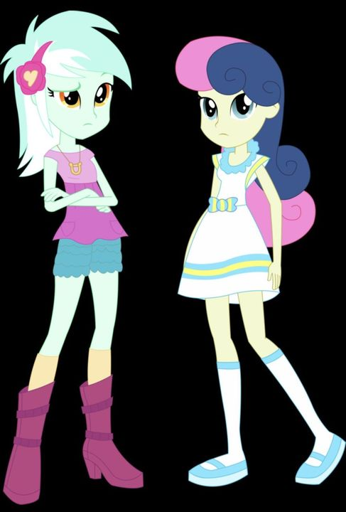 The second girl is Sweetie Drops who sometimes goes by the nickname BonBon and she has light apple greenish-grey skin, moderate cobalt blue, and light fuchsia hair, modern cyan eyes and she is wearing a white dress with yellow and light blue deta...