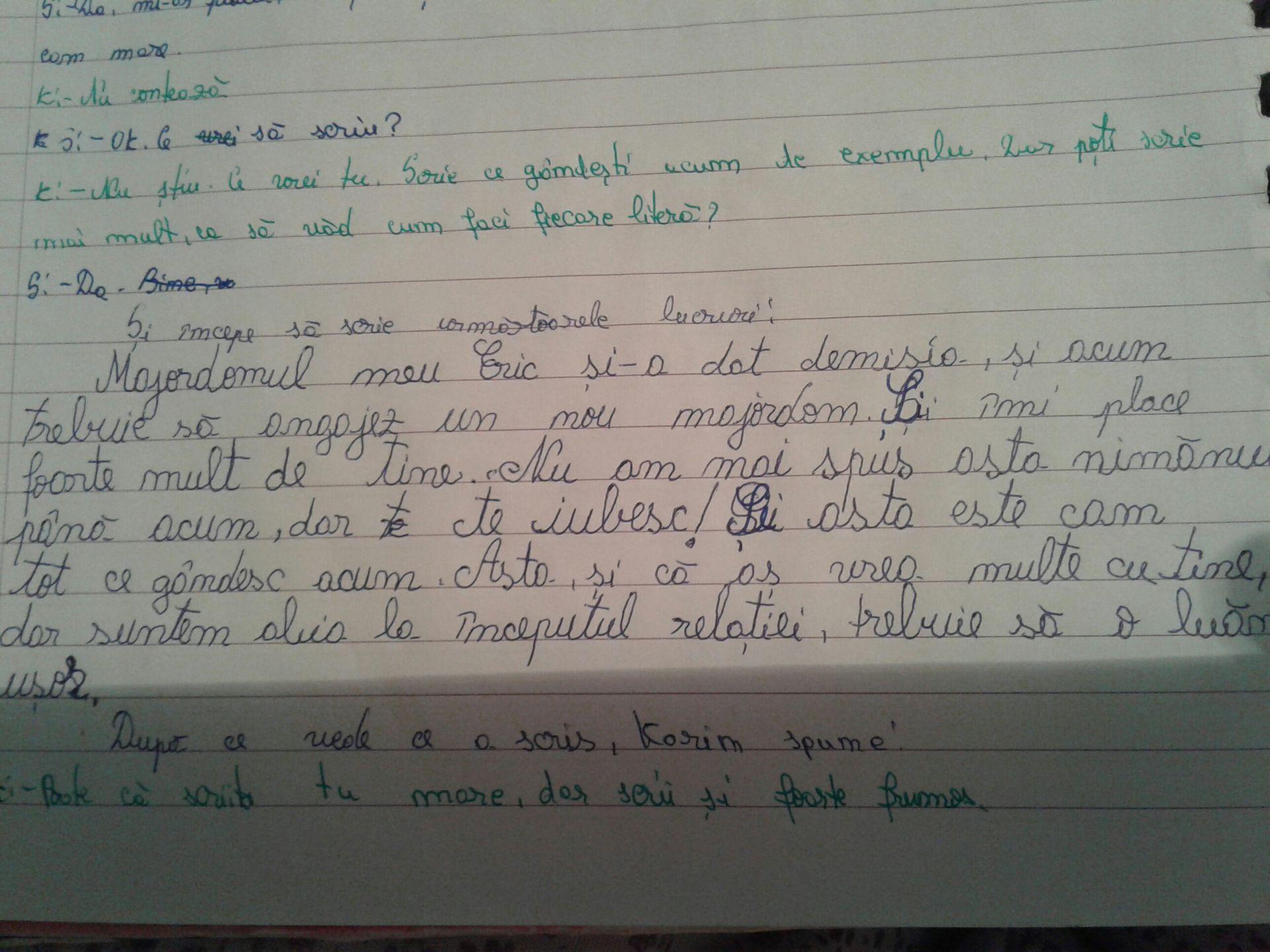 vreau să scriu în jos)