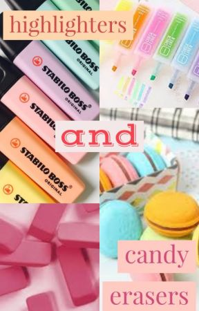 highlighters and candy erasers by ViolaBlack17