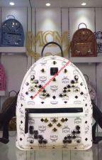 MCM Mini Stark M Odeon Studs Backpack In White by cheapmoschino