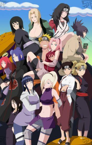 Naruto with Hinata, Sakura, and many other girls characters