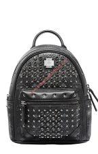 MCM Mini Diamond Visetos Backpack In Black by cheapmoschino