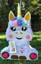 New! Baby Unicorn Pinata with Pink Roses by apinata4u