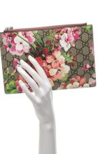 Gucci GG Supreme Pink Blooms Zipper Pouch by divyagtr