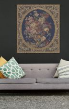 Floral Composition in Vase Dark Blue Italian Tapestry Wall Art Hanging (New) by Ebaysaveontapestries
