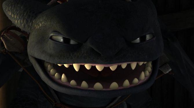 """Hipo retrocedió inmediatamente tras ver como aquellos afilados dientes de su amigo se presentaron – """"Chimuelo ¿Qué te sucede? soy yo, Hipo"""" – hablo molesto"""