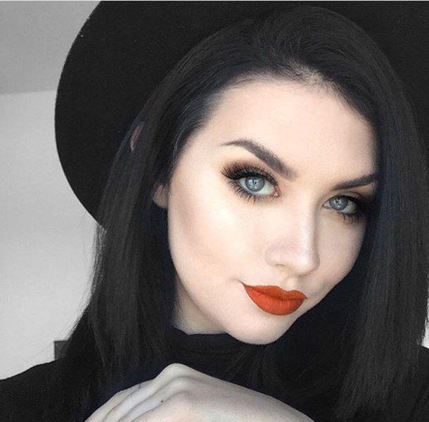 Blue eyes with girl hair black and Black Hair
